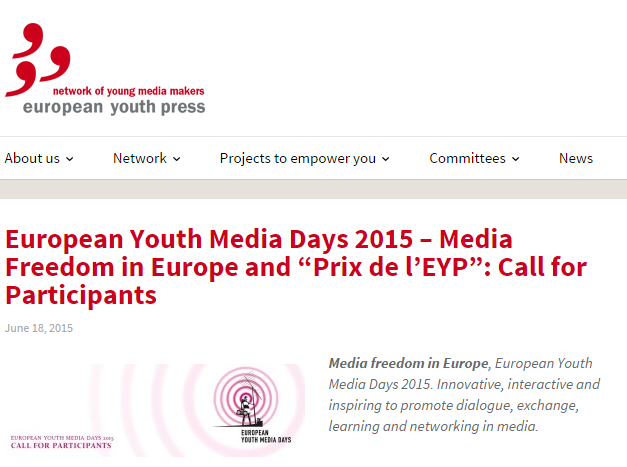 "European Youth Media Days 2015 – Media Freedom in Europe and ""Prix de l'EYP""-elmVvDL64Gumvhl_HXuGQ7vhnYELMLWQ"